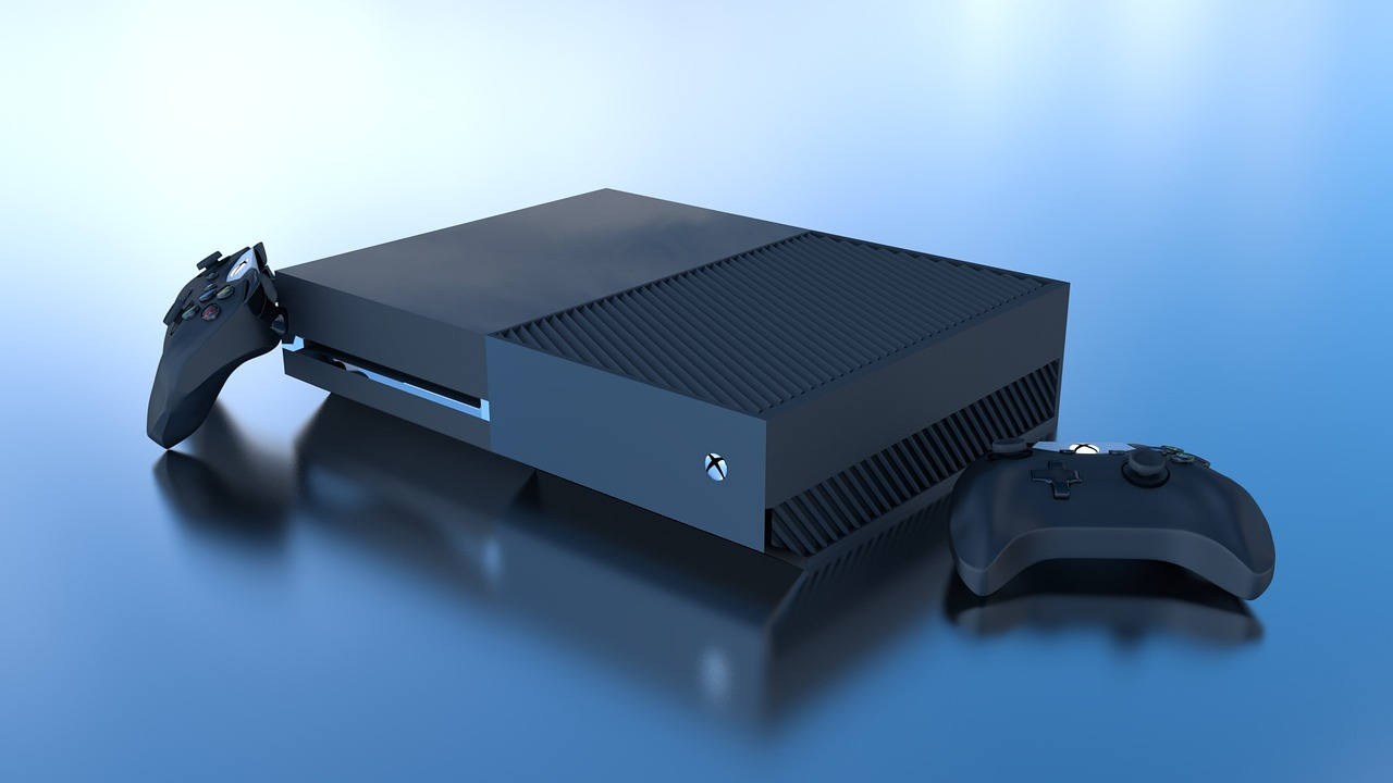 Image of a Xbox with blue background