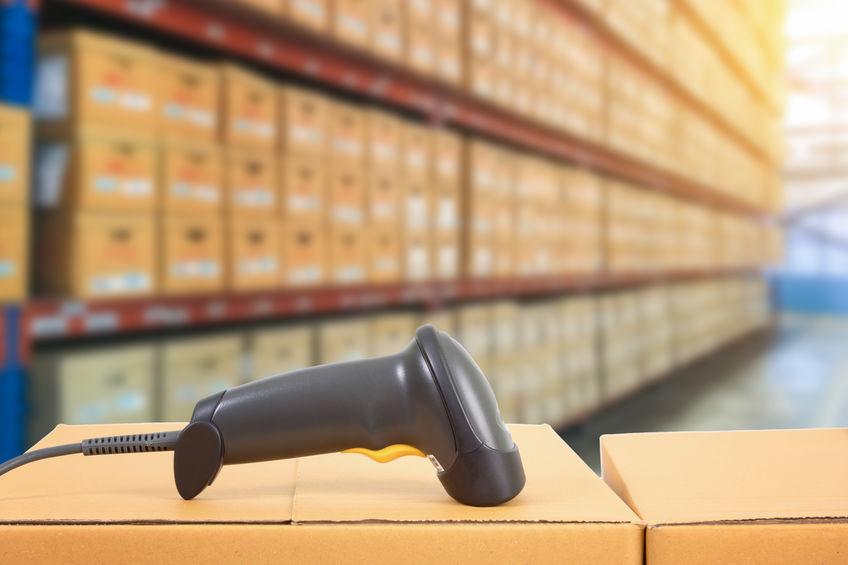 streepjescodescanner in magazijn