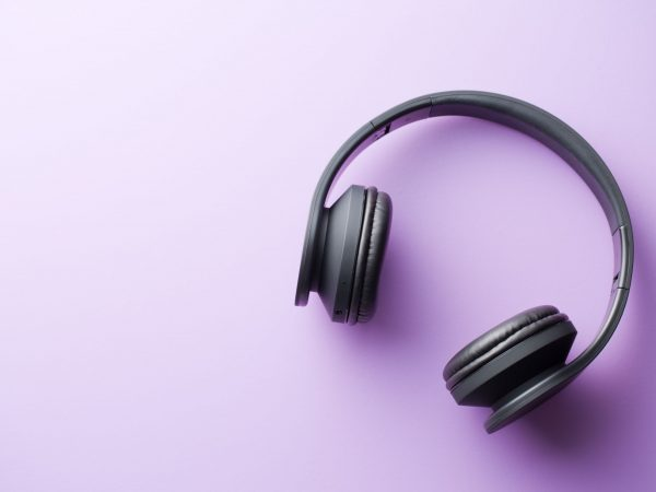 wireless headphones on colorful background