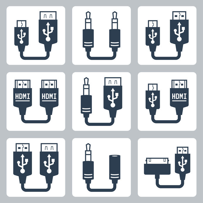 Adapter connectoren vector iconen set