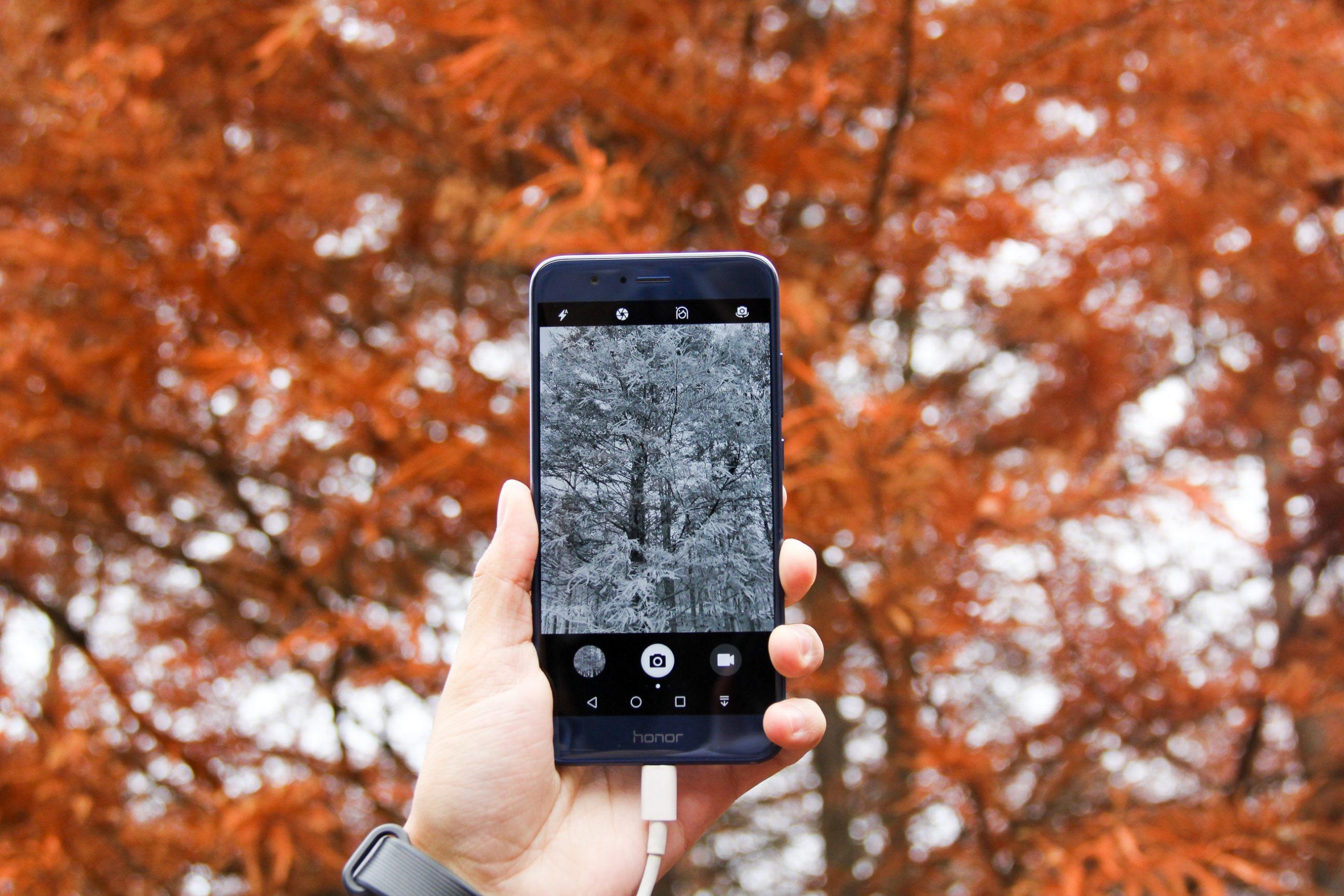 Na foto uma mão segurando um celular com a câmera aberta.