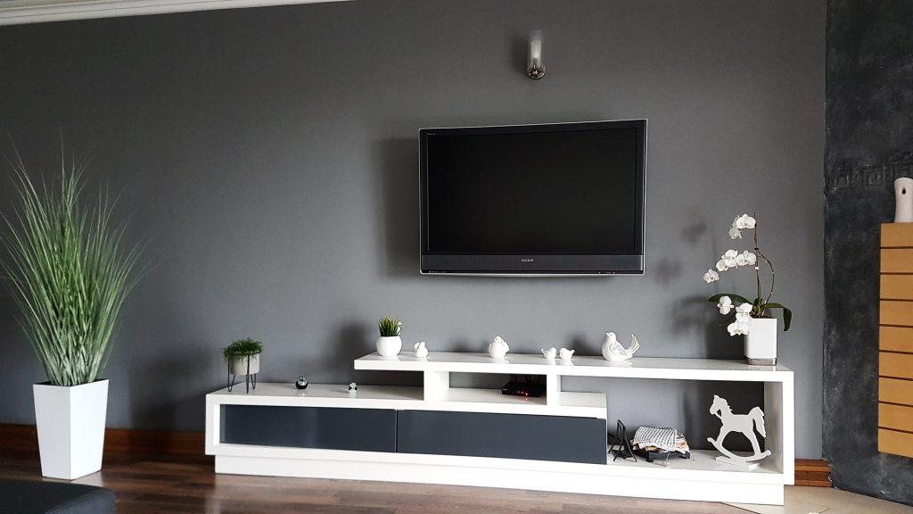 Na foto uma televisão em cima de uma móvel branco com uma planta ao lado.