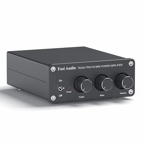 Fosi Audio TB10A - 2 Kanaals Stereo Audio Versterker Ontvanger, Mini Hi-Fi Klasse D Geïntegreerde TPA3116 Versterker voor Luidsprekers 100W x 2, met Bas en Treble Regeling