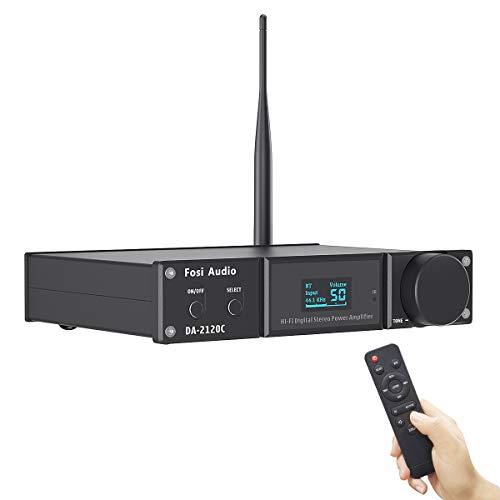 Fosi Audio DA2120C Bluetooth Versterker 120 W x2 Stereo Hi-Fi 2.1 Kanalen Draadloze Stream aptX, 24Bit/192kHz Class D Mini Power Amp Compact, USB Optische Coaxiale Ondersteuning Subwoofer