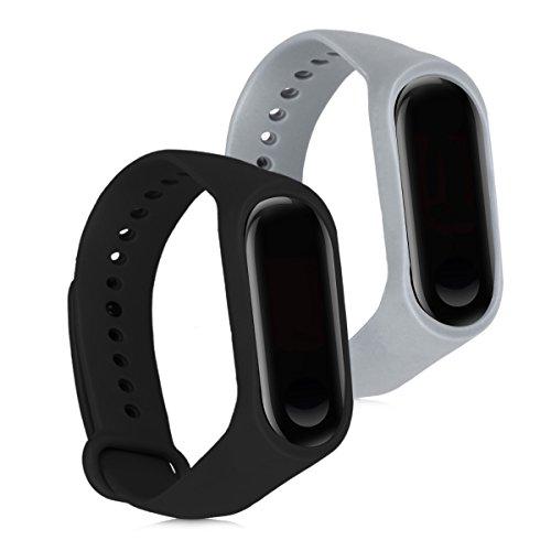 kwmobile 2x bandje compatibel met Xiaomi Mi Band 3 - Horlogeband van TPU voor fitnesstracker in zwart/grijs