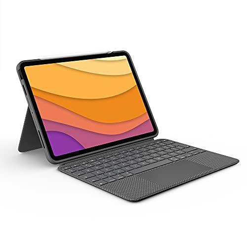 Logitech Combo Touch iPad Air (4. gen. - 2020) Hoes met QWERTY toetsenbord - Afneembaar, verlicht, Click-Anywhere-trackpad, Smart Connector - Grijs