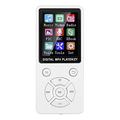 MP3-MP4-speler, draagbare 1,8-inch HiFi-stereogeluid MP3-muziekspeler 8 GB Bluetooth 4.2 audio-video e-book reader voor MP3-MP4-spelers, 32 G-geheugenkaart, tactische knoppen met acht diagrammen (wit)