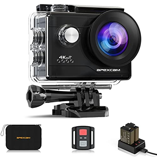 Apexcam 4K Action Cam 20MP WiFi Sports Camera Ultra HD onderwatercamera 40m 170° groothoek 2.4G afstandsbediening timelapse 2x1050mAh batterijen 2,0-inch LCD-scherm en andere