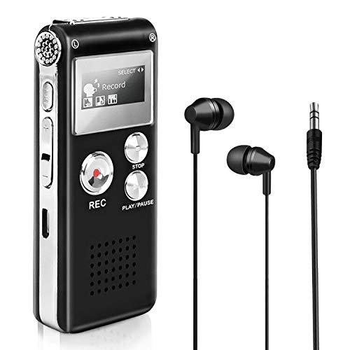 8 GB digitale spraakrecorder, Maxjaa USB oplaadbare stemrecorderpen met MP3-speler en One-Touch opname, multifunctionele mini draagbare dictafoon voor lessen, vergaderingen, interviews (zwart)