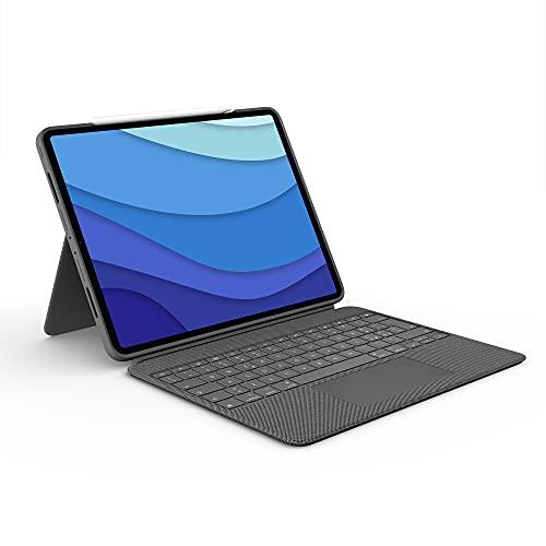 Logitech Combo Touch beschermhoes met toetsenbord voor iPad Pro 12,9 inch (5. Gen-2021), achtergrondverlichting, afneembaar, trackpad Click-Anywhere, Smart Connector, Italiaanse lay-out QWERTY - grijs