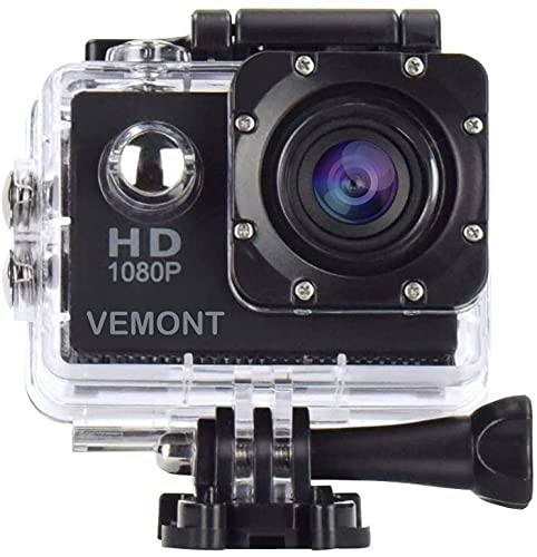 Vemont Full HD 2.0 Inch Actie Camera 1080P 12 MP Sport Camera Actie Cam Onderwater 30m/98ft Waterdichte Camera en Montage Accessoires Kit voor Duiken/Fietsen/Zwemmen/Zwemmen etc, Zwart