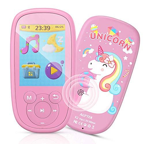 Bluetooth mp3 speler voor kinderen, AGPTEK eenhoorn MP4 speler 2,4 inch scherm, muziekspeler met luidspreker, hoofdtelefoon, slaapliedje, FM-radio, slaaptimer en spraakopname enz. Roze