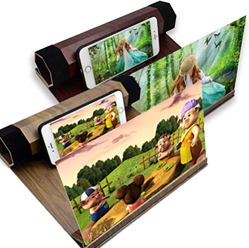 Vergrootglas, 3D Telefoonscherm Vergrootglas Versterker Vergroter Telefoonvergroter Scherm Houten standaard 12
