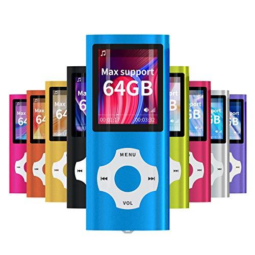 Mymahdi MP3/MP4 beweegbare speler, donkerblauw met 1,8 inch LCD-scherm en geheugeninbouwgleuf, maximale ondersteuning 128 GB geheugenkaart