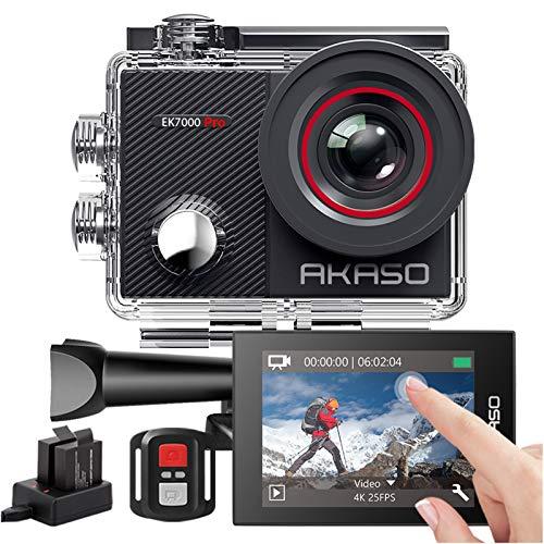 AKASO Action Cam EK7000 Pro Actiecamera, 4K 20MP, wifi, 40M onderwatercamera, waterdicht, ultra HD touchscreen, instelbaar, groothoek, EIS-actioncam met 2,4G afstandsbediening en 25 accessoires