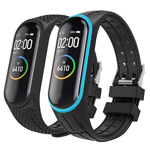 MoKo 2-PACK Band Compatible with Xiaomi Mi Band 3/Mi Band 4, Soft Silicone Replacement Wristband Strap Bracelet Fit Xiaomi Mi Band 3/Mi Band 4 Smart Watch - Blue & Black