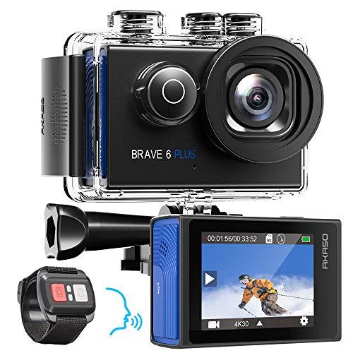 AKASO Action Cam Native 4K 20MP Action Camera WiFi 40M onderwatercamera waterdicht EIS touchscreen met 8X Zoom spraakbesturing afstandsbediening helmcamera met 2X 1350mAh batterijen accessoires kit