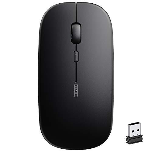 INPHIC Mute Silent Click Oplaadbare draadloze muis, mini optische computermuis, ultradun 1600 dpi draadloze muis voor notebook, pc, laptop, computer, MacBook, magisch zwart