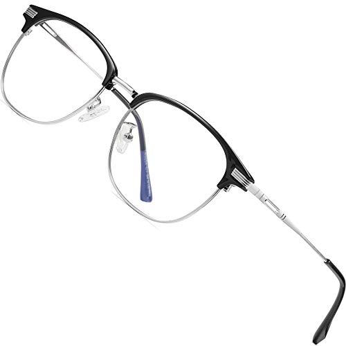 ATTCL Uniseks bril met blauw lichtfilter, computerbril voor het blokkeren van UV-hoofdpijn, vermindert de belasting van de ogen, (heren/dames), grijs, M