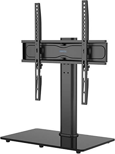 BONTEC tv-tafel, tafelstandaard, standvoet, LCD/LED/plasma tv's, draaibaar, in hoogte verstelbaar voor 26-55 inch, max. VESA 400 x 400, inclusief gratis reinigingsset