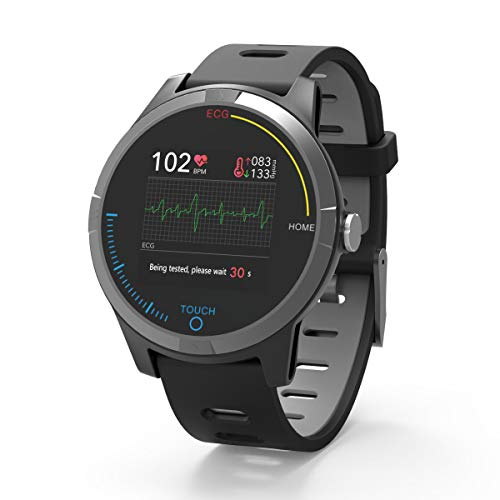PRIXTON - Smartwatch voor Android en iOS met EKG, Bloeddruk, Pulsmeter, Spatwaterdicht, Activiteitenband voor mannen en vrouwen / SWB28
