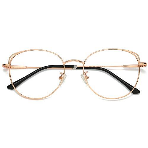 SOJOS Bril Blauw licht Blokkerende Cat Eye Damesbrillen SJ5027 She Young mit Roze Gouden Frame/Anti-Blauwe Lichtlens