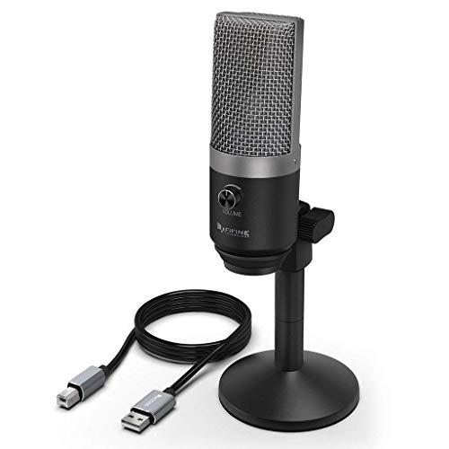 FIFINE PC USB-microfoon voor computer (Mac en Windows), condensatormicrofoon geoptimaliseerd voor opname en streaming, voice over, podcast voor YouTube, Skype - K670