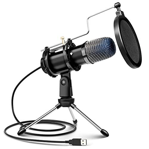 Computer microfoon, condensator Gaming Microfoon voor PC Desktop USB Microfoon met Statief Stand & Pop Filter Mic Compatibel met MacOS Windows, voor PS4/5 Facebook Streaming Zoom Skype