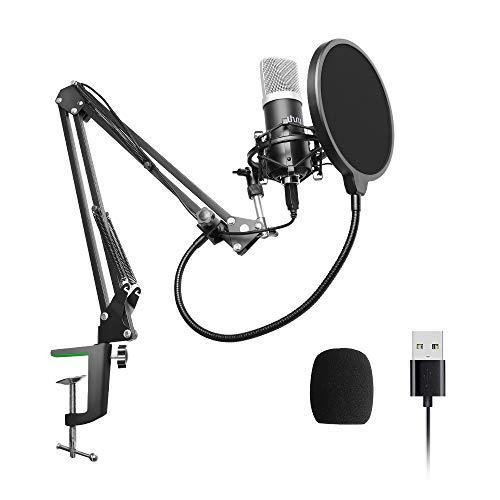 Uhuru Professionele podcast microfoonset met microfoonstandaard, shock mount, windbescherming, popfilter voor radio, opname, YouTube, Podcast, Gaming