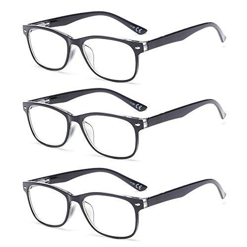 Suertree 3 Pack Anti-Blauwe Leesbrillen, Computer Brillen, Blauw Licht Filterbril, Blokkerende UV-Computerbril, Visuele Leesbrillen, Leesbril Heren Dames Zwart 1.5 BM161