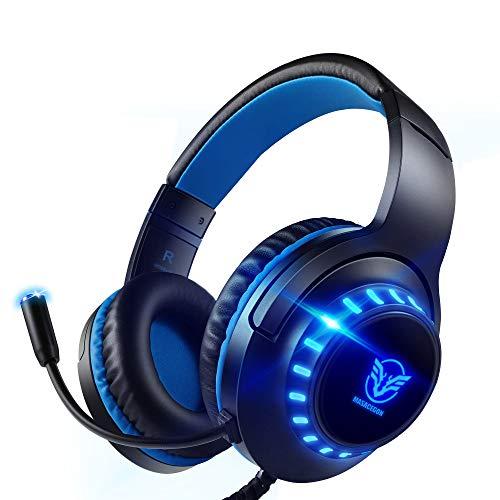 Pacrate Gaming Headset voor PS4 PC 3.5 mm Hoofdtelefoon met Microfoon Over Ear Noise Cancelling LED licht Compatibel met PS4 Xbox One PC Nintendo Switch Laptop Mac