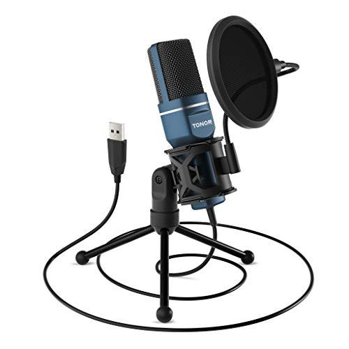 TONOR PC-microfoon, USB-computer, condensatormicrofoon, gaming micros plug & play met statief en popfilter voor podcasts, voor iMac, pc, laptop, desktop, Windows