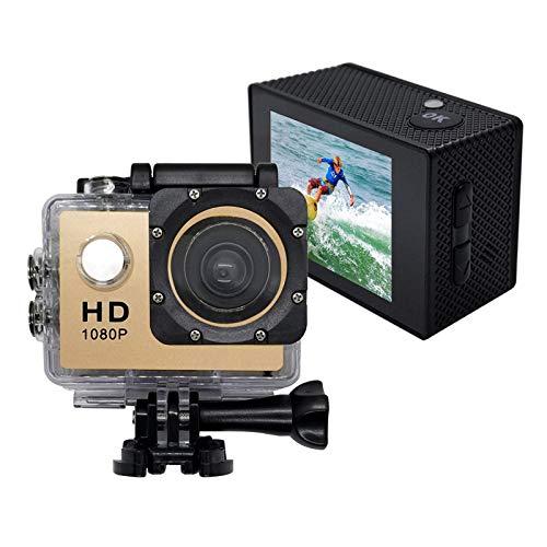 Sport Action Camera, waterdichte 1080p onderwatercamera met 140° groothoeklens, 900mAh batterij, onderwater 30m (goud)