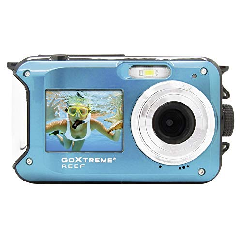 Easypix GoXtreme 'Reef' onderwatercamera met webcam-functie, 4-voudige zoom, anti-shaking-functie, 2 displays, 3 m waterdicht, blauw