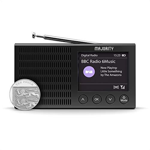 Majority Eddington DAB+ en FM-radio, lichtgewicht, oplaadbar en draagbar, werkt op batterijen en netstroom, met Bluetooth...