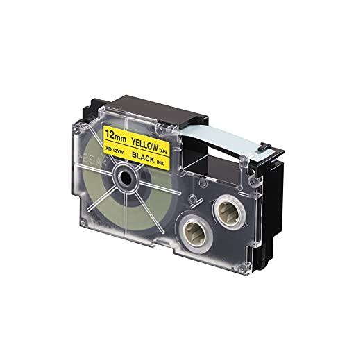 CASIO EZ-Label Printer XR-12YW1 tape zelfklevend 12 mm x 8,0 m zwart op geel