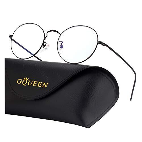 GQUEEN Ronde bril met blauw licht filter voor dames en heren, blauw licht, computer, gaming bril, UV400-bescherming