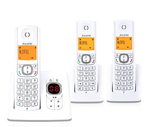 Alcatel F530 Voice Trio-draadloze telefoon (DECT, in moderne kleuren, geïntegreerd antwoordapparaat, handsfree, display met achtergrondverlichting, VIP-beltonen, 10 oproepmelodieën, wit/grijs