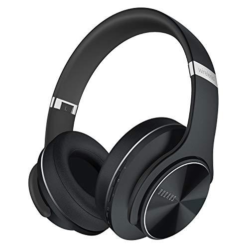 DOQAUS Bluetooth Koptelefoon over ear, [tot 52 uur] Draadloze Koptelefoon met 3 EQ-modi, Dubbele 40 mm Drivers, Geheugen-eiwit-oorkussens en Ruisonderdrukking Geïntegreerde Microfoon voor Smartphone / PC / TV (Zwart)