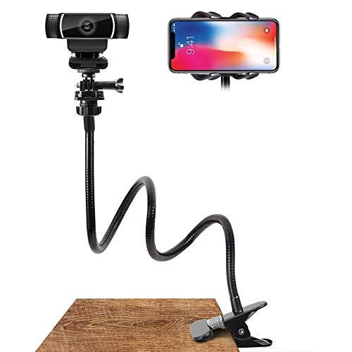 Mobiele telefoonhouder, houder zwanenhals met universele 1/4 inch schroeven, flexibele arm, 360 graden draaibaar, voor camera, mobiele telefoon en tablet.