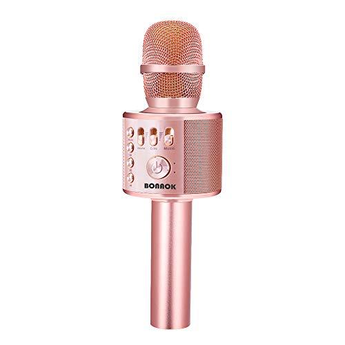 BONAOK Draadloze Bluetooth Karaoke Microfoon, 3-in-1 Draagbare Handbediend karaoke Microfoon Kind, Verjaardagscadeau Huis feest Microfoon, Karaoke Apparatuur voor iPhone, Android, PC (Rose goud plus )