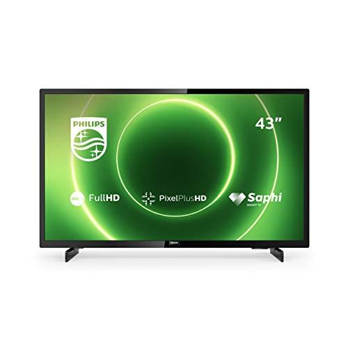 PHILIPS 43PFS6805/12 43-inch televisie (Full HD LED TV, Pixel Plus HD, HDR 10, Saphi Smart TV, full-range-luidspreker, 3 x HDMI, 2 x USB, ideaal voor gaming, glanzend zwart, modeljaar 2020, Zwart