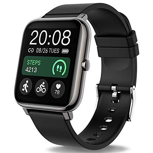 Popglory Smartwatch, fitnesstracker met bloeddrukmeting, fitnesshorloge met hartslagmeter, slaapmonitor, IP67 waterdicht, sporthorloge, stappenteller voor Android en iOS smartwatch, voor dames en heren