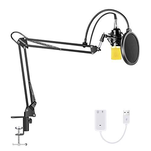 Neewer NW-700 Condensatormicrofoon, professioneel instelbare schaararmstandaard met vering, schokmontage, popfilter, USB-geluidskaart