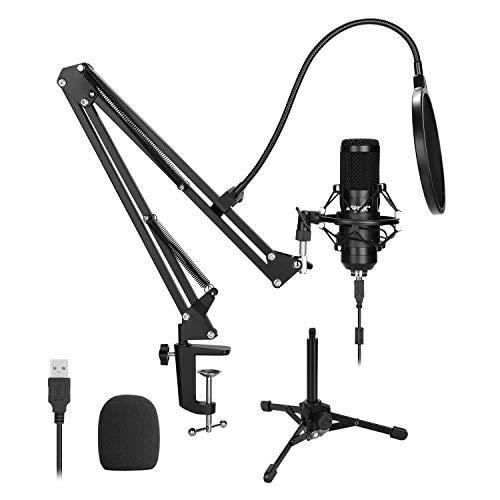 AGPTEK USB-microfoonset, 192KHz/24-bits USB-condensator-studiomicrofoon met schaarstatief, metalen schokdemperhouder, popfilter, bevestigingsklem, metalen statief, microfoonwindbescherming en kabel