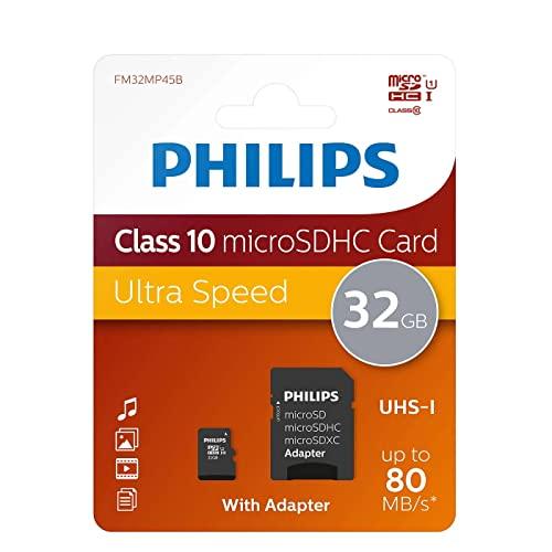 Philips FM08MP45B/10 Micro SD geheugenkaart met adapter 32 GB zwart