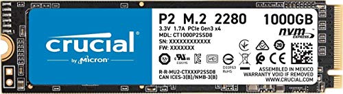 Crucial P2 CT1000P2SSD8 1 TB interne SSD, tot 2400 MB/s (3D NAND, NVMe, PCIe, M.2)