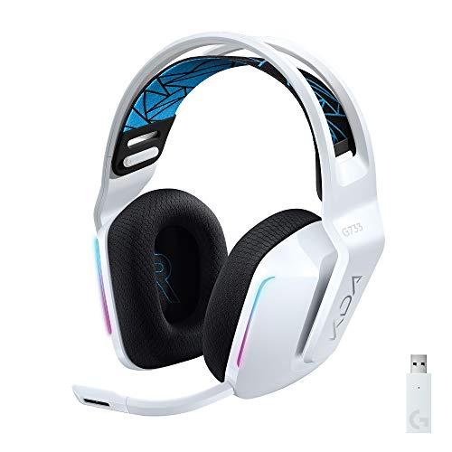 Logitech G733 K/DA LIGHTSPEED Draadloze Gaming Headset, 16,8M Kleur LIGHTSYNC RGB, Blue VO!CE Mic-Technologie en PRO-G Audio Drivers, Officiële League of Legends Gaming Gear, voor PC/PlayStation - Wit