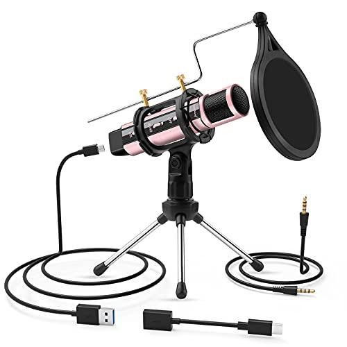 ZealSound USB-microfoon voor pc, mobiele telefoon, laptop, PS4, karaoke-podcast, gaming microfoon, met echo mengpaneel, windbescherming, standaard, USB-C & 3,5 mm kabel, voor opname, live-overdracht, zingen YouTube ASMR