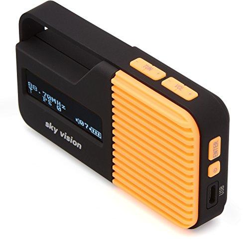 Sky Vision DAB Radio 12 O - kleine, draagbare mini digitale radio, outdoor, DAB+, FM/FM-tuner, USB-oplaadfunctie (oranje)